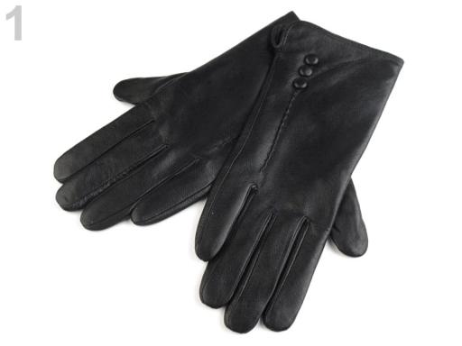 Dámske kožené rukavice s gombíkmi čierna 1pár