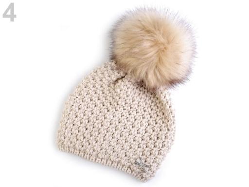 7467b23cb Dievčenská zimná čiapka s odnímateľným brmbolcom Capu béžová sv. 1ks