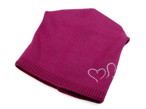 Dievčenská zimná čiapka Capu so srdiečkami béžová sv. 1ks