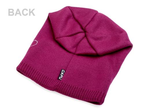 Dievčenská zimná čiapka Capu so srdiečkami ružová neon 1ks