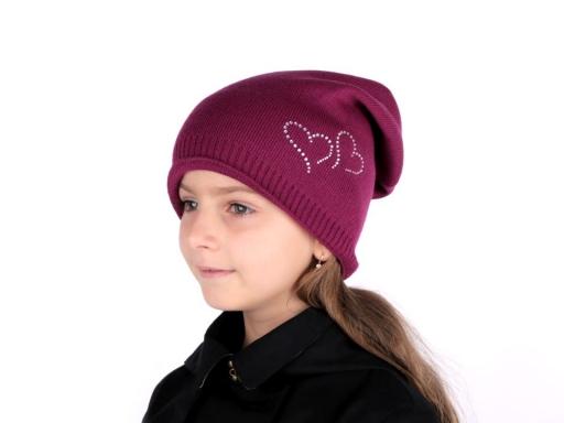 Dievčenská zimná čiapka Capu so srdiečkami šedá perlovo 1ks
