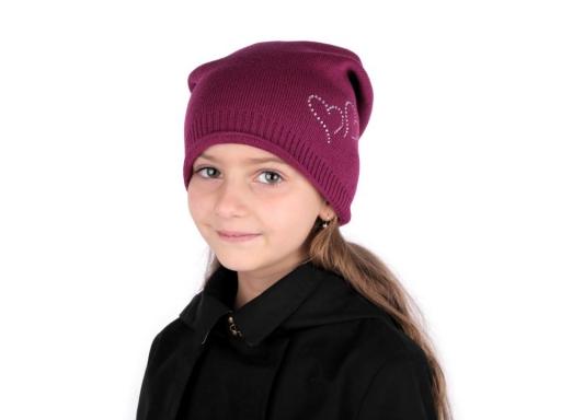 Dievčenská zimná čiapka Capu so srdiečkami šedá 1ks