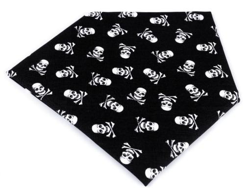 Bavlnená šatka pirát 65x65 cm čierna 1ks