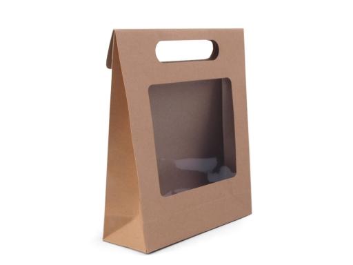 Papierová taška s priehľadom hnedá prírodná 1ks