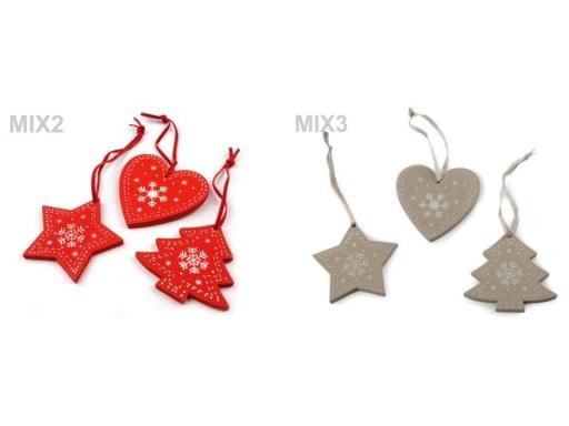 Drevená vianočná dekorácia šedá sv. 1sáčok
