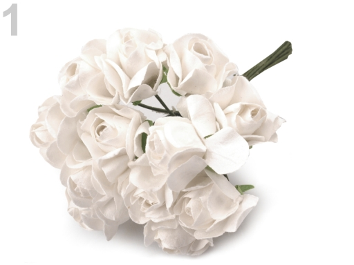Ruže na drôtiku / polotovar na výväzky Ø20 mm mliečna 1zväzok