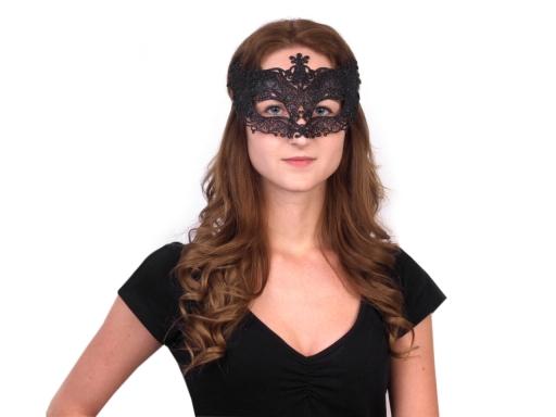 Karnevalová maska - škraboška s glitrami červená 1ks