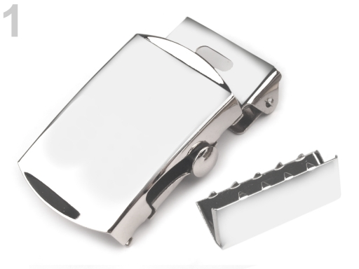 Kovová spona 30 mm na opasok s koncovkou nikel 10sada