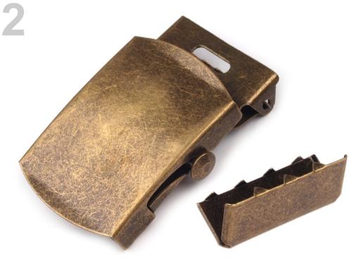 Kovová spona 30 mm na opasok s koncovkou staromosadz 10sada