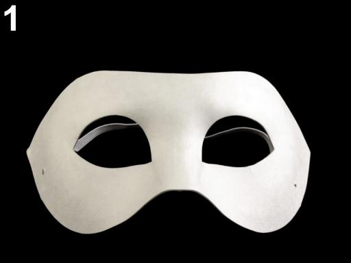 Karnevalová maska - škraboška k domaľovaniu biela 12ks