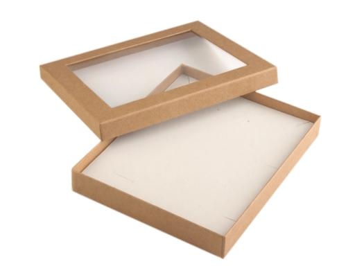 Krabička s priehľadom polstrovaná 16x19,5 cm hnedá prírodná 5ks