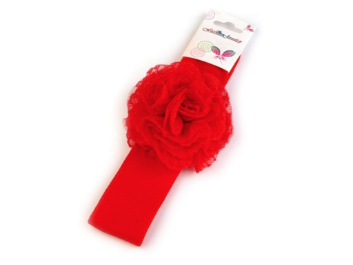 Detská elastická čelenka do vlasov s kvetom ružová sv. 1ks
