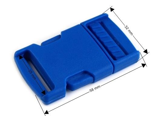 Spona trojzubec šírka 25 mm modrá neonová 25pár