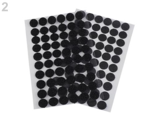 Suchý zips samolepiaci krúžky Ø15 mm čierna 1kar.