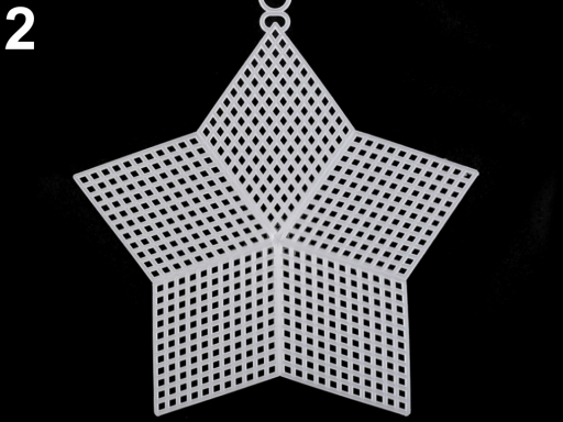 Plastová kanava / mriežka vyšívacia kruh, hviezda, štvorec biela 1ks