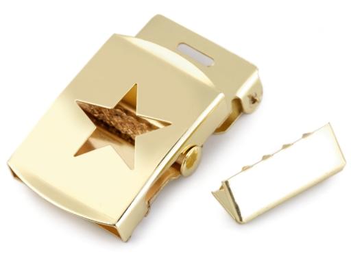 Kovová spona na opasok s koncovkou 30 mm zlatá 5sada