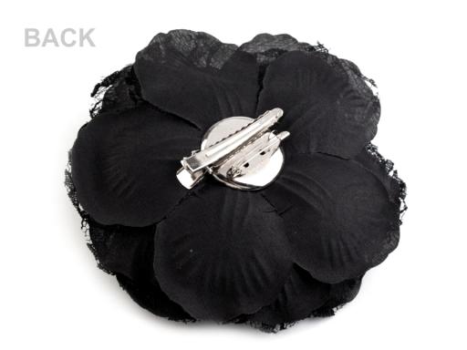 Brošňa / ozdoba ruža Ø11 cm krémová sv. 1ks
