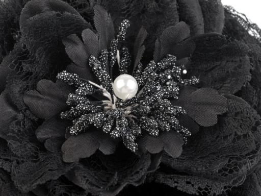 Brošňa / ozdoba ruža Ø11 cm korálová sv. 4ks