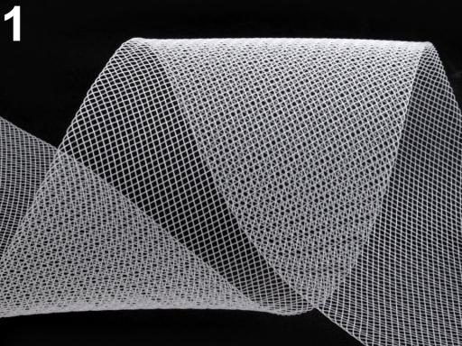 Modistická krinolína na vystuženie šiat a výrobu fascinátorov šírka 10 cm biela 44m