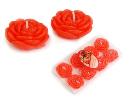 Plávajúce sviečky Ø3,5 cm kvet červená sv. 1krab.