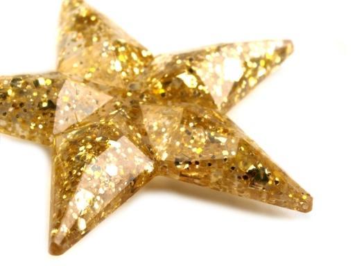 Samolepiace dekorácie hviezdy s glitrami Ø30 mm zlatá 216ks