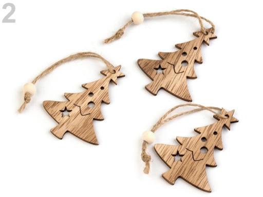 Vianočná drevená vločka, strom, sob hnedá prírodná 3ks