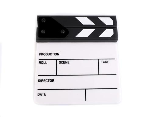 Filmová klapka 15x16 cm bieločierná 3ks