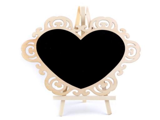 Tabuľka srdce so stojanom buk 2ks