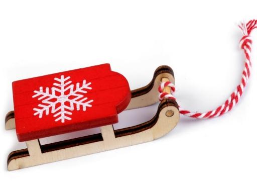 Vianočné dekorácie - sane, lyže, korčule, rukavice, čiapky, bundy, ponožky buk 6ks