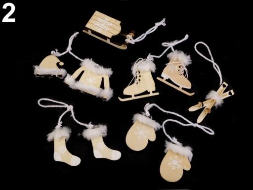 Vianočné dekorácie - sane, lyže, korčule, rukavice, čiapky, bundy, ponožky hnedý dub 6ks