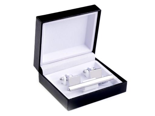Manžetové gombíky a viazanková spona sada v krabičke platina 1krab.