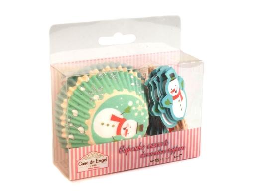 d1d736e53 Vianočné papierové košíčky na muffiny so zápichmi mint 1sada