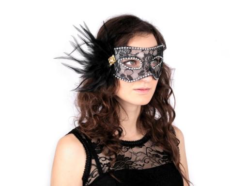 Karnevalová maska - škraboška čipka s perím červená 1ks