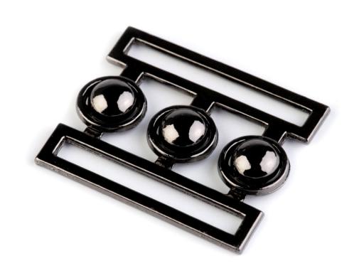 Kovová spona na pásik 37 mm nikel čierny 4pár