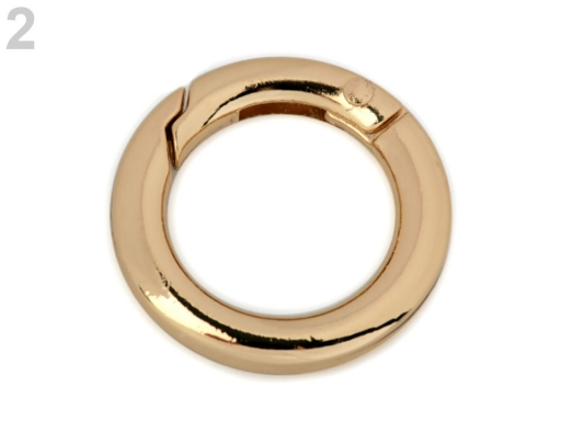 a107371f16 Karabínka krúžok na kľúče   kabelky Ø18 mm zlatá 10ks