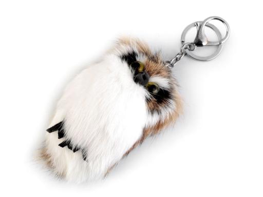 Kožušinový prívesok na kabelku / kľúče sova prírodný 1ks