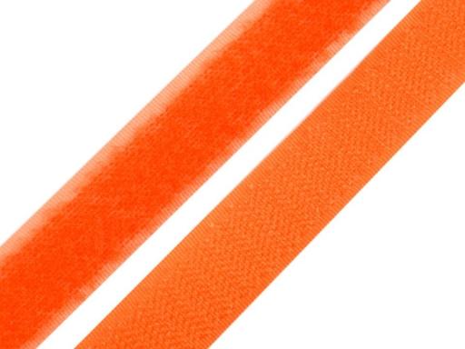 Suchý zips háčik + plyš šírka 20 mm oranžový neon oranžová 25m