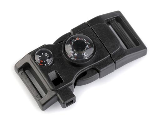 Spona trojzubec s píšťalkou a kompasom šírka 20 mm čierna 2ks