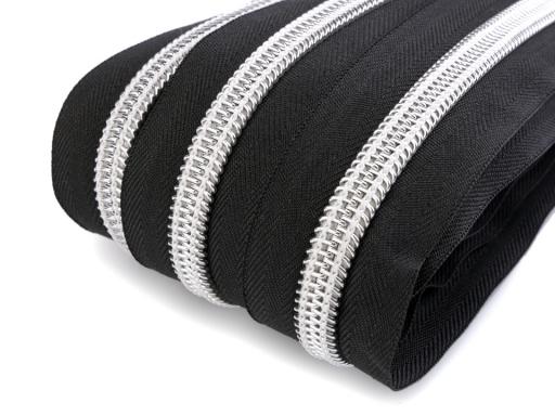 Zips špirálový šírka 10 mm metráž so striebornými zúbkami čierna 5m