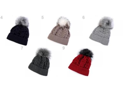 8b92579b1 Dámska zimná čiapka s brmbolcom bežova biela 1ks