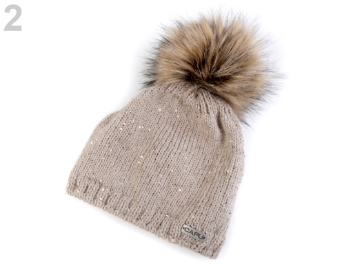 0ae7b3f62 Dámska zimná čiapka s brmbolcom Capu béžová tm. 1ks