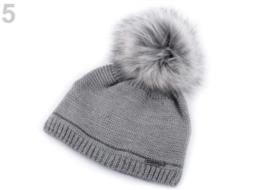 8427ca4b3 Dámska zimná čiapka s brmbolcom a reflexným prvkom Capu šedá 1ks