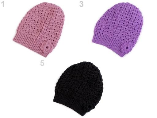 Dievčenská pletená čiapka Capu staroružová tm. 1ks