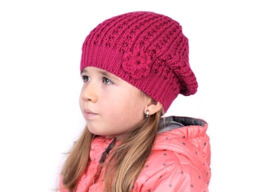 Dievčenská pletená čiapka Capu malinová 1ks
