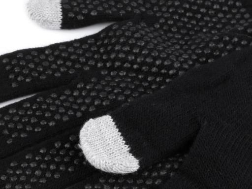 Pletené rukavice na mobil dotykové čierna 1pár