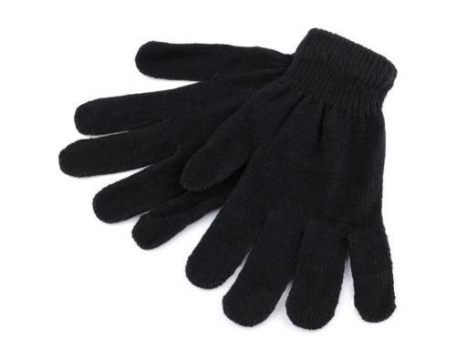 Dámske pletené rukavice 22 cm čierna 1pár