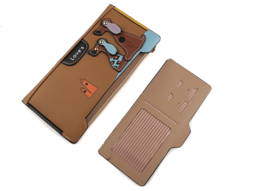 Dámska peňaženka / dokladovka psi 10x20 cm pudrová 1ks