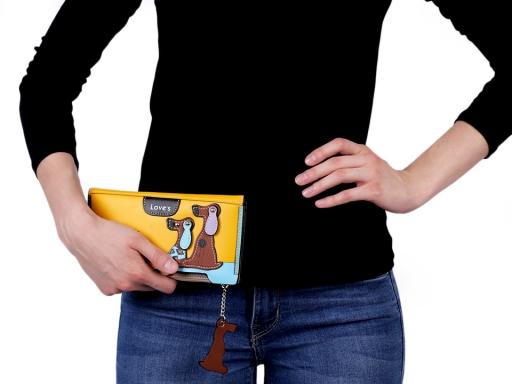 Dámska peňaženka / dokladovka psi 10x20 cm čierna 1ks