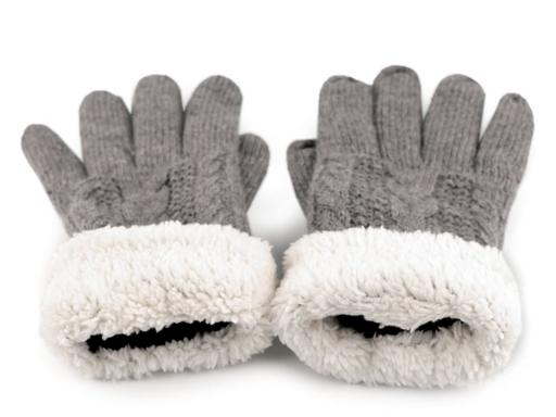 Dámske rukavice pletené s kožúškom pudrová 1pár