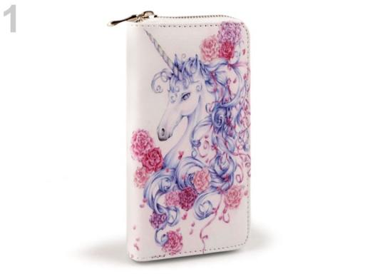 Dámska peňaženka jednorožec 10x19 cm bielo-modrá 1ks